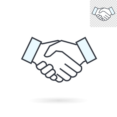 business partner: Modern abstract handshake sign for logos banners layouts corporate  brochures templates and internet web sites.