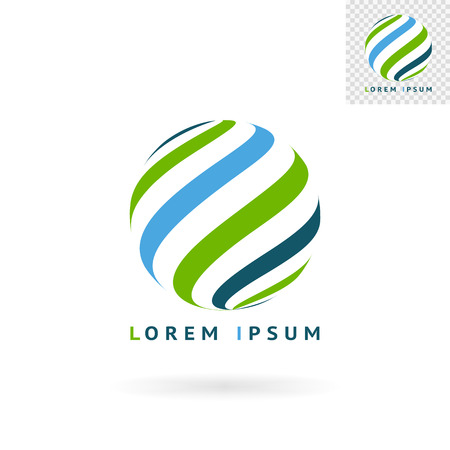 Modern abstract green blue round sign for logos banners layouts corporate  brochures templates and internet web sites.  Illustration