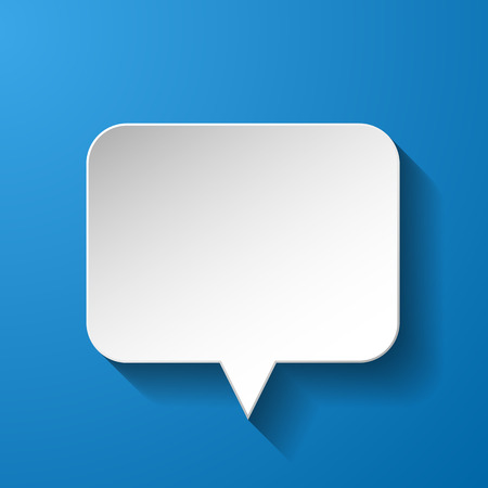 White paper speech bubble on blue background.