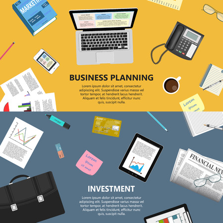 business planning: Modern flat design business planning and investment concept  for ebusiness web sites mobile applications banners corporate brochures book covers layouts etc.