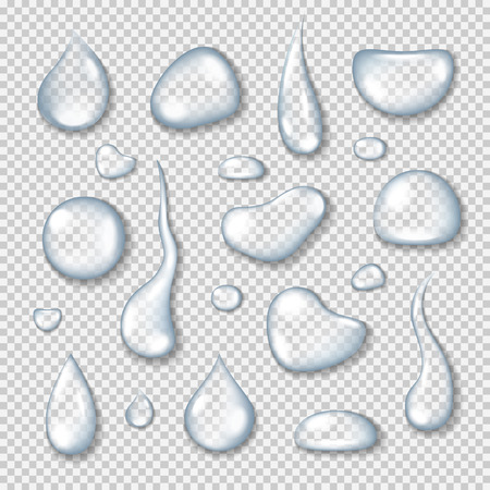 Realistic transparent water drops set on light blue background. Vector  illustration