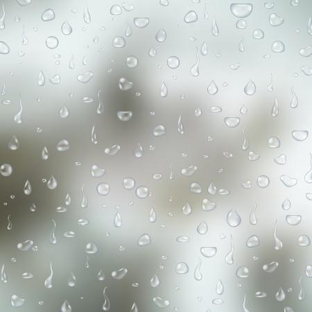 vapore acqueo: acqua realistico trasparenti gocce su sfondo chiaro vetro grigio. illustrazione di vettore