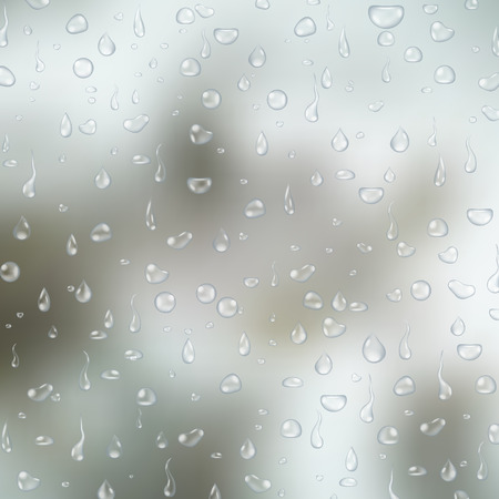 condensation on glass: Realistic transparent water drops on light grey glass background. Vector  illustration Illustration
