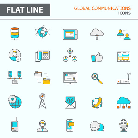 Set of modern simple line icons in flat design