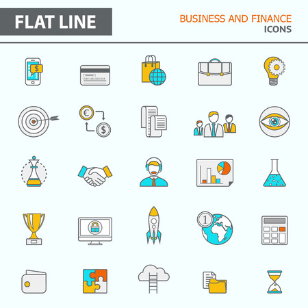 Set of modern simple line icons in flat design.  Illustration