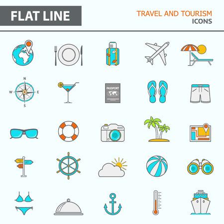 turismo: Set di moderni semplici icone di linea in design piatto Vettoriali