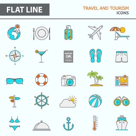 tourism: Set of modern simple line icons in flat design