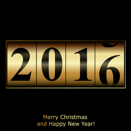 watch new year: Abstract golden New Year counter. Vector  illustration
