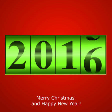 new year counter: Green New Year counter on red background. Vector  illustration