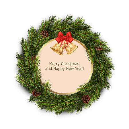 furtree: Christmas greeting card with xmas wreath on white background. Holiday decorations. Vector  illustration Illustration