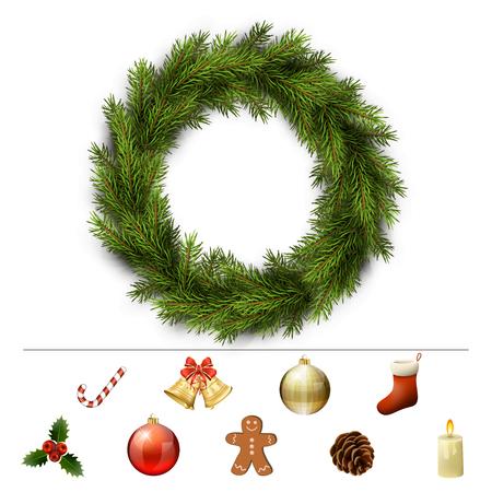 furtree: Christmas design elements for custom wreath decoration. Xmas template. Vector  illustration