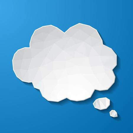 White low poly speech bubble on blue background. Vector eps10 illustration Illustration