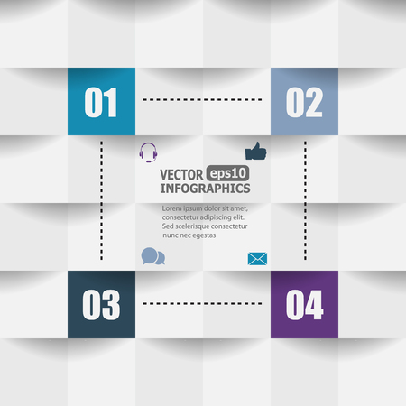 idea: Modern paper infographics for web, banners, mobile applications, layouts etc. Vector eps10 illustration Illustration