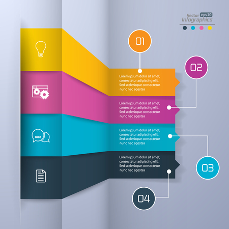communication icons: Modern paper infographics diagram for web design, banners, mobile applications, layouts, corporate brochures, adv booklets,  financial reports. Business concept vector illustration.
