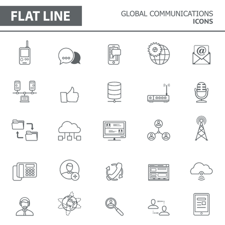 cloud: Set of modern simple line icons in flat design. Trendy infographic global communication concept elements for banners, layouts, corporate  brochures, templates and web sites. Vector eps10 illustration
