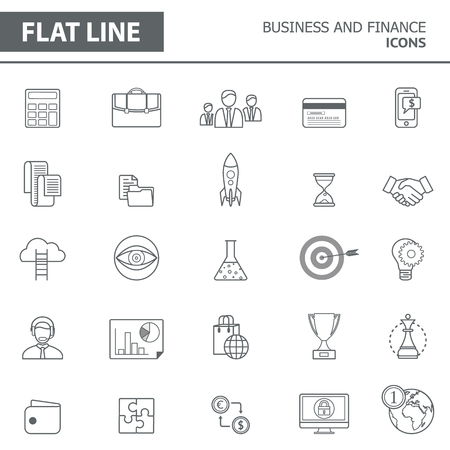 Set of modern simple line icons in flat design. Trendy infographic business and finance concept elements for banners, layouts, corporate  brochures, templates and web sites. Vector eps10 illustration Illustration