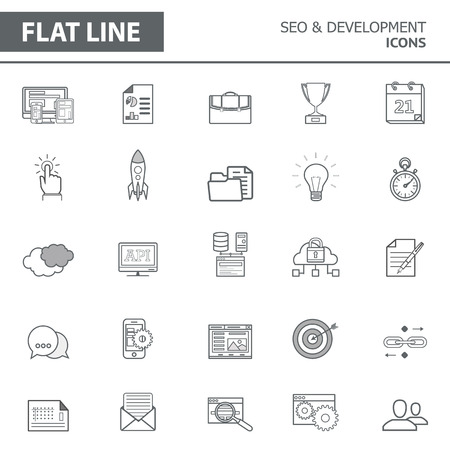 Set of modern simple line icons in flat design. Trendy infographic seo and development concept elements for banners, layouts, corporate  brochures, templates and web sites. Vector eps10 illustration Illustration