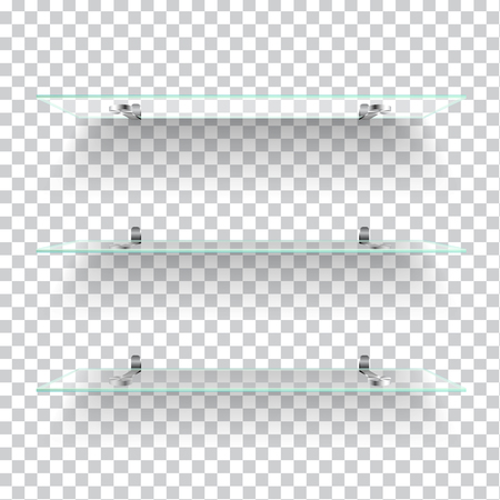 grey background texture: Realistic transparent glass shelves on light grey background. Vector eps10 illustration Illustration
