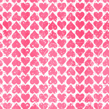 Abstract  seamless pattern with pink hearts. Modern background with splashes of paint. Grungy texture. Vector illustration. Vector