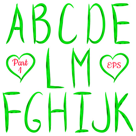 Green handwritten textured letters on white background. VectorABC. Acrylic design.Editable template. Vector