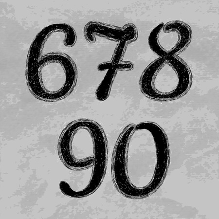 0 9: Set of numbers. Editable tamplate. Black grunge numbers.Dirty grunge set of numerals. Illustration