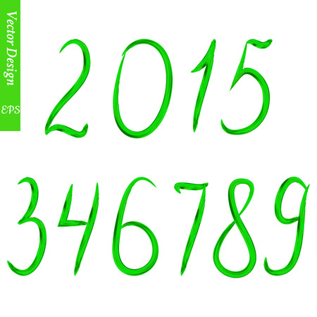 0 9: Set of numbers. Editable tamplate. The numbers painted with a brush on a white background.Green acrylic numbers. Illustration