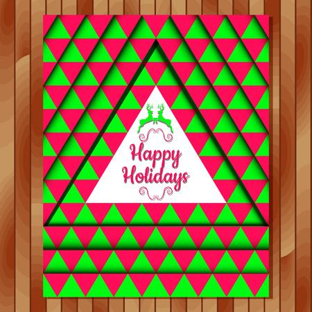 postcard background: Christmas postcard. Vector illustration. Happy Holidays.Geometric background. Illustration