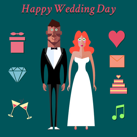 wedding couple: Wedding couple icons, wedding invitation. Flat design vector