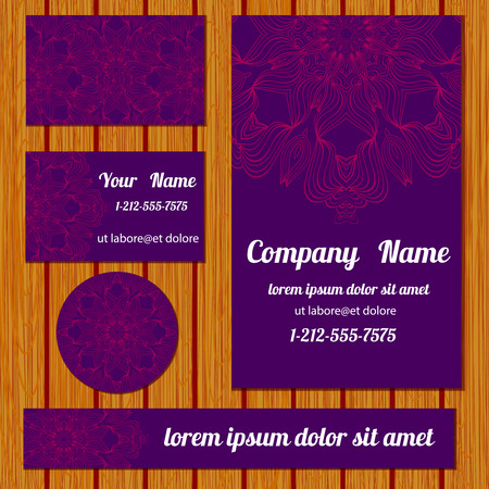 bisiness: Corporate identity templates set with floral pattern. Vector simple card.Art bisiness templates with decorative doodle