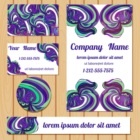 bisiness: Colorful bisiness templates with  hand drawn decorative doodle. Vector card.
