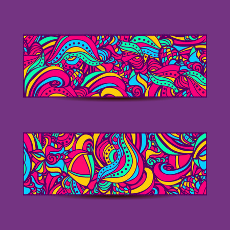 A set of  vector banners with colorful  background.Abstract vector ethnic pattern cards. Vector