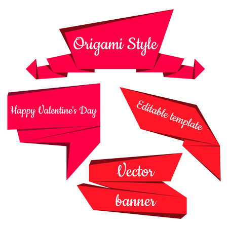 Set of five red  banners. Origami speech bubbles. Vector