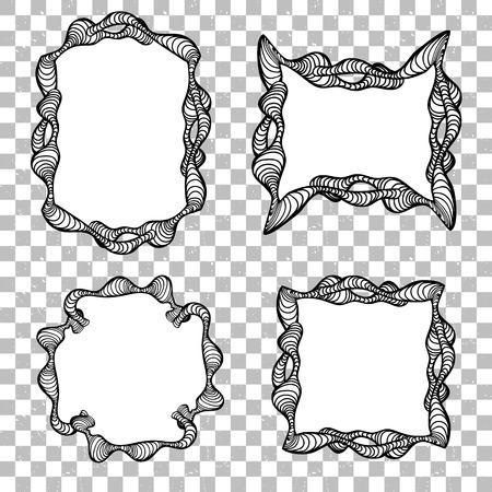 Abstract Creative Doodle Frame Vector Editable Template Black