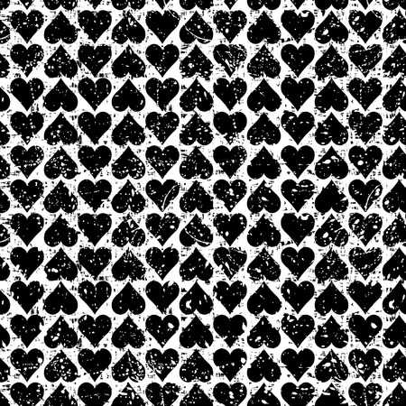 Abstract  seamless pattern with hearts.Black and white modern background with splashes of paint. Grungy texture. Vector