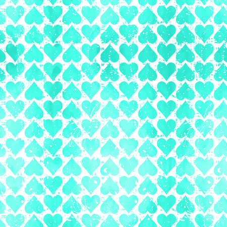 Abstract  seamless pattern with blue hearts. Modern background with splashes of paint. Grungy texture.Vector illustration. Vector