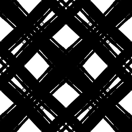 Geometric abstract seamless pattern made with ink. Monochrome modern background.Ink grungy texture. Vector
