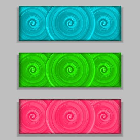 Set of 3 colorful acrilic banners. Bright texture background. Blue, pink and green spirals. Vector illustration. Vector