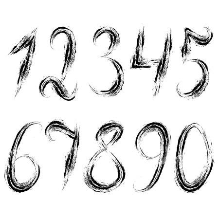 0 9: Set of numbers. Vector illustration. Black ripped numbers.Dirty grunge set of numerals. Illustration