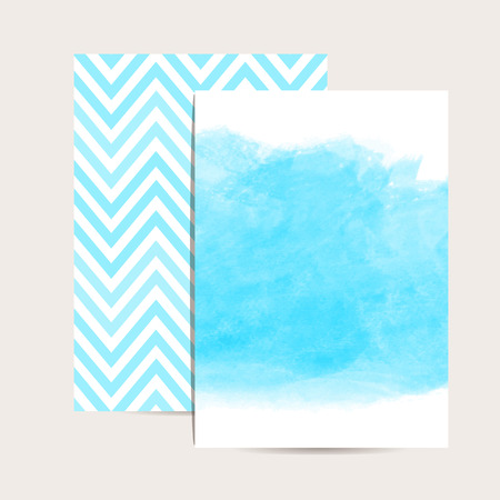 dates: Abstract background. Watercolor art. Set of 2 blue  invitation cards. Wedding invitation,greeting card. Place for your text. Classic chevron. Watercolor blue stain. Vector illustration. Editable template.