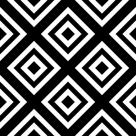 rhombus: Abstract geometric seamless pattern. Simple black and white background.Vector illustration. Classic design.
