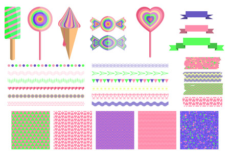 Set of 4 cute abstract seamless pattern and design elements.Clip art, dividers, brush, banners,washi. Ice cream, candy.Patterns of hearts and triangles. Bright backdrop with polka dots. Vector illustration. Vector