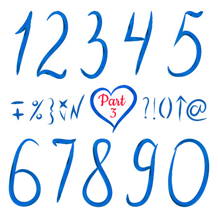 0 9: Set of acrylic numbers and other sign. Isolated elements. Editable template. Vector illustration. Bright blue. Freehand. Illustration