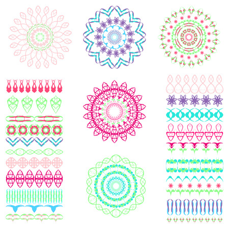 florish: Set of seamless  brushes or dividers. 21 isolated element for your design.5 flower mandalas. Ornate florish editable template. Bright colors. Vector illustration.