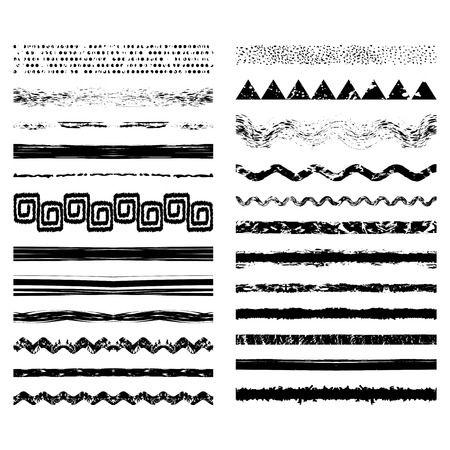 Vector set of seamless brush strokes or dividers. Editable isolated grunge elements for your design. Freehand. Watercolor splash. Acrylic stamp. Triangle, spiral, zigzag, stripes, dots, splash.