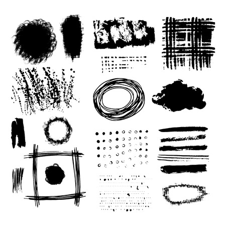 Vector set of black brush strokes. Editable isolated elements. Grunge brushes for your design. Freehand. Watercolor splash. Acrylic stamp. Иллюстрация