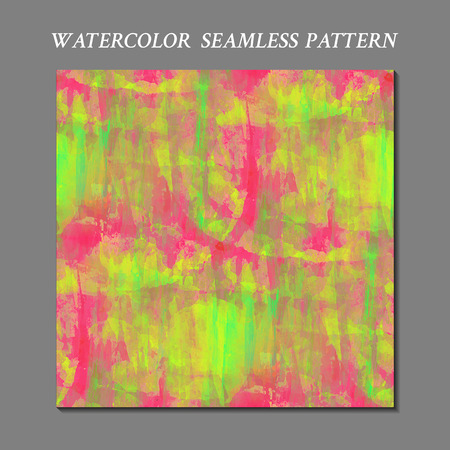 acid colors: Watercolor seamless pattern. Handmade texture. Bright pink, green and yellow acid colors. Vector illustration. Fantasy modern abstract wallpaper.