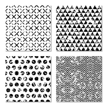 Set of 4 abstract  patterns. Classic black and white seamless wallpaper. Vector illustration.Grungy background with geometric shapes. Zigzag, chevron, circle, cross,triangle.