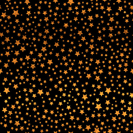 Abstract black modern seamless pattern with gold stars.   Vector illustration.Shiny background. Texture of gold foil. Иллюстрация