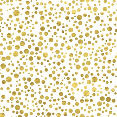polka dot fabric: Modello bianco e oro. Astratto moderno geometrica. Vector illustration.Shiny sfondo. Trama di foglia d'oro. Stile art deco. Pois, coriandoli.