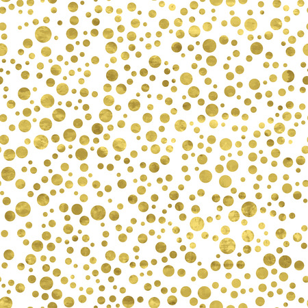 White and gold  pattern. Abstract geometric modern background. Vector illustration.Shiny backdrop. Texture of gold foil. Art deco style. Polka dots, confetti.